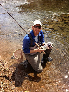 Daniel Galhardo with a Powerade Fish on Clear Creek. Colorado